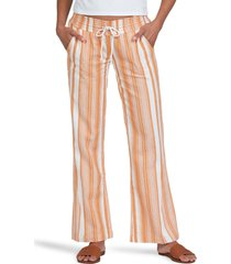 women's roxy oceanside tie waist pants, size large - orange