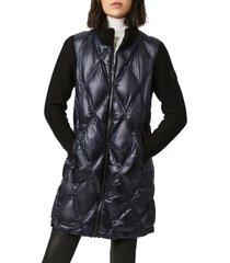 bernardo knit sleeve diamond quilt puffer coat, size xx-large in navy at nordstrom