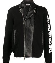dsquared2 sweatshirt and biker hybrid jacket - black
