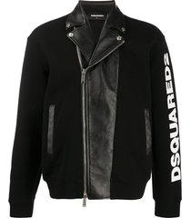 dsquared2 sweatshirt and biker hybrid jacket - black