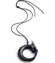 horn dragon necklace, women's, black, josie natori