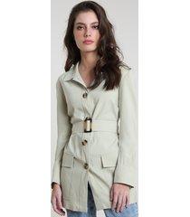 casaco trench coat feminino mindset com cinto e bolsos verde claro