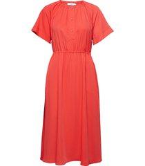 gathered waist dress ss knälång klänning röd calvin klein