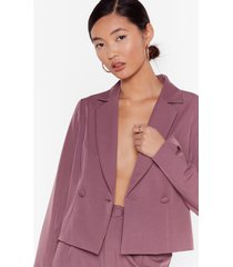 womens so bossy cropped tailored blazer - mauve