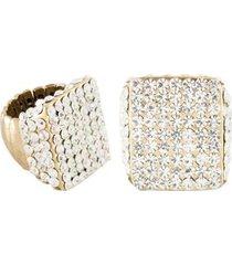anel armazem rr bijoux regulável cristal transparente quadrado - feminino