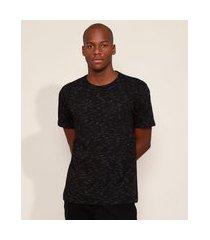 camiseta masculina básica com bolso manga curta gola careca preta
