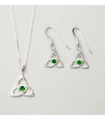 emerald green trinity jewelry set