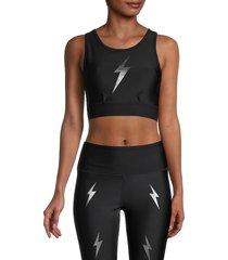 electric yoga women's bolt crisscross sports bra - blue - size xs
