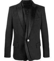 balmain layered satin lapel blazer - black