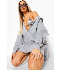 hoodie jurk met dubbele rits, grey marl
