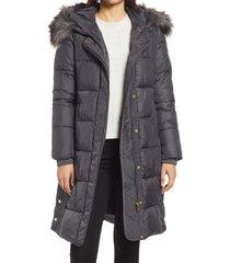 women's via spiga faux fur trim hooded puffer coat, size large - grey