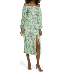 afrm off the shoulder long sleeve dress, size x-small in green garden ditsy at nordstrom