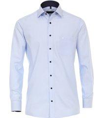 casamoda overhemd licht strepen navy details kent comfort fit blauw