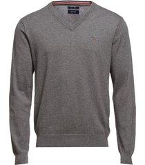 cotton wool v-neck stickad tröja v-krage grå gant