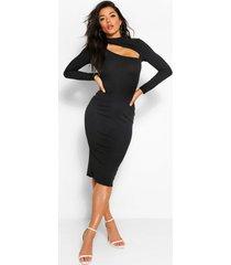 bodycon midi jurk met hoog uitgesneden hals, zwart
