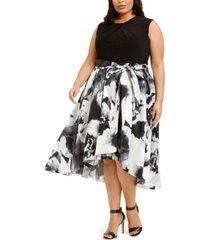 sl fashions plus size embellished-neck floral-skirt dress