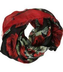 dolce & gabbana fringed edges rose print scarf