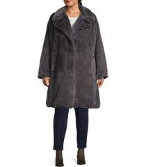 avec les filles women's plus faux fur coat - graphite - size 2x (18-20)