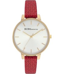 bcbgeneration ladies 3 hands slim red genuine leather strap watch, 36 mm case