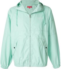 supreme hooded raglan jacket - blue