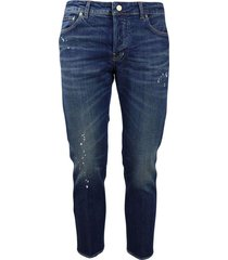 5-pocket jeans striped denim with splashes of paint