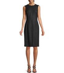oscar de la renta women's virgin wool-blend sheath dress - charcoal - size 6