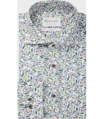 michaelis vrolijk poplin shirt met details van gekleurde bladeren