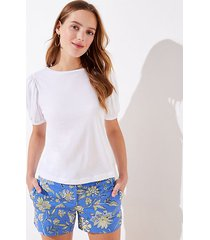 loft petite puff sleeve cropped statement tee