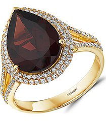 bordeaux 14k yellow gold, garnet & diamond cocktail ring