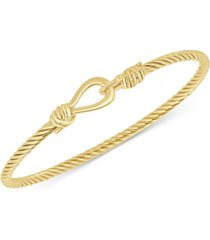 italian gold torchon knot bangle bracelet in 14k gold-plated sterling silver