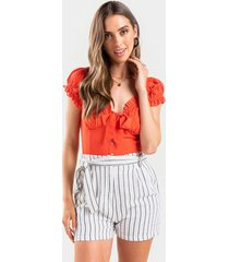 gene tie front stripe shorts - white
