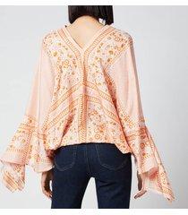 see by chloé women's portobello on light fluid silk blouse - orange - white - l