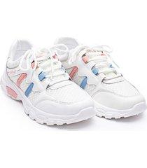 tenis franja rosa y azul color blanco, talla 40