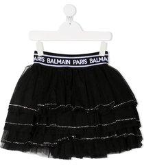 balmain kids tiered tulle mini skirt - black