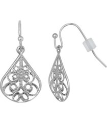 2028 silver-tone filigree drop earring