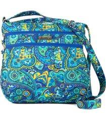 bolsa carteiro tecido transversal  matelassê casual azul