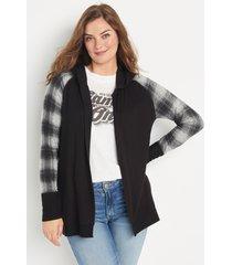 maurices womens black plaid hooded cardigan