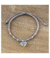 silver charm cord bracelet, 'ancient heart in grey' (thailand)
