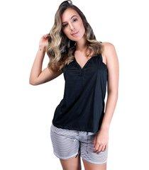 pijama mvb modas adulto  blusa e short com laço preto