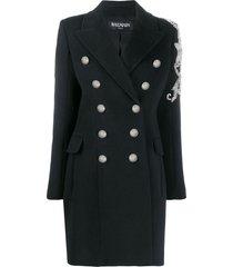 balmain bead-embellished double-breasted coat - black