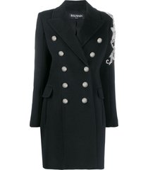 balmain bead-embellished double-breasted coat - black