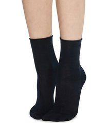 calzedonia short cotton socks with comfort cut cuffs woman blue size 36-38