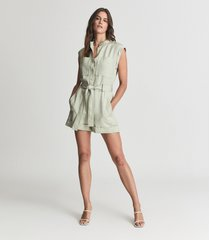 reiss joe - linen blend playsuit in green, womens, size 12