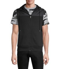 michael kors men's mixed-media hooded vest - black - size s
