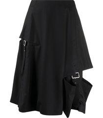 comme des garçons noir kei ninomiya buckle-detail flared skirt - black