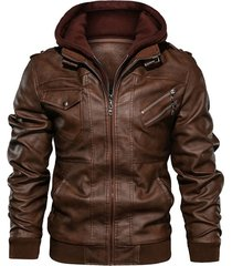 chaqueta cuero pu hombres casual motociclista sa722 marron