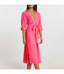 river island womens pink longline tie front shirt dress cover up