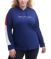 tommy hilfiger sport plus size colorblock-sleeve hooded top
