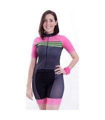 macaquinho de ciclismo manga curta wise sports race rosa