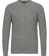claude organic cotton twisted yarn sweater stickad tröja m. rund krage grå lexington clothing